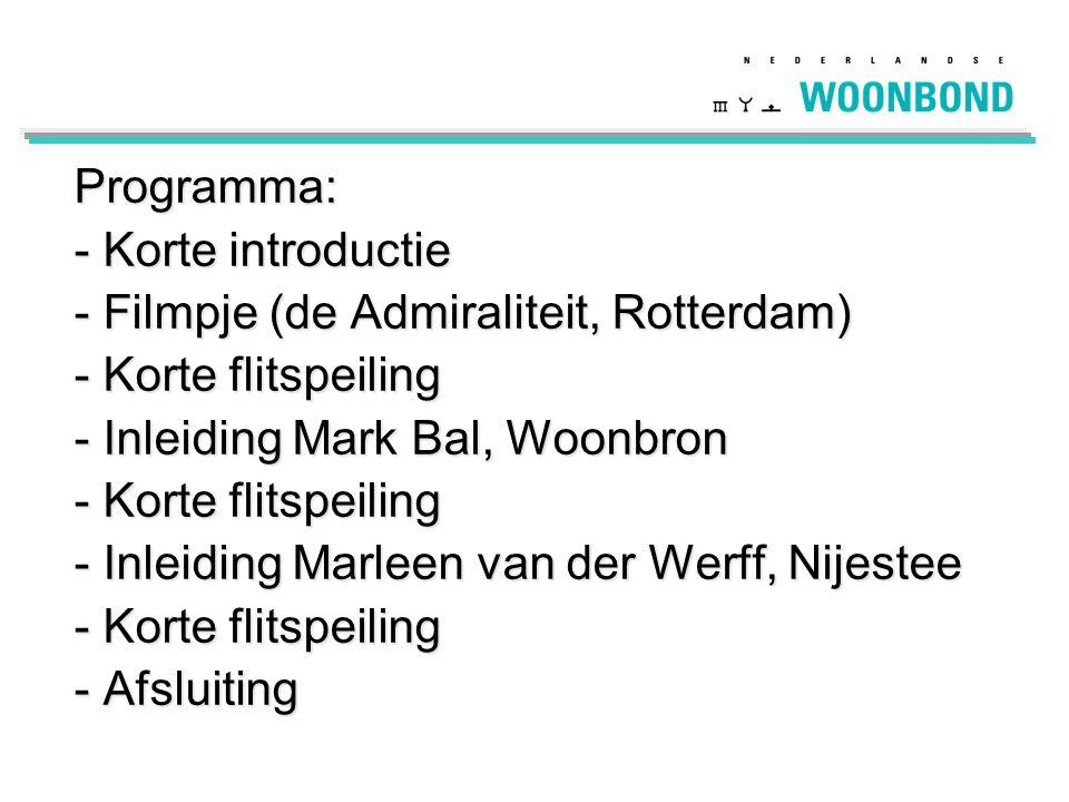 Programma: Korte introductie. Filmpje (de Admiraliteit, Rotterdam) Korte flitspeiling. Inleiding Mark Bal, Woonbron.
