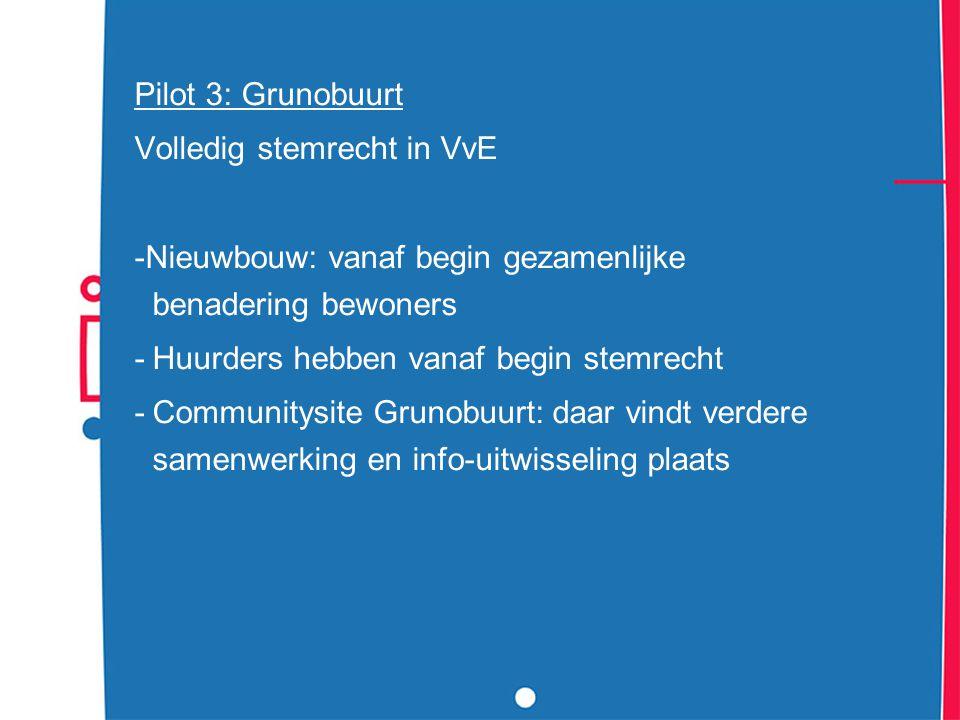 Pilot 3: Grunobuurt Volledig stemrecht in VvE. -Nieuwbouw: vanaf begin gezamenlijke benadering bewoners.