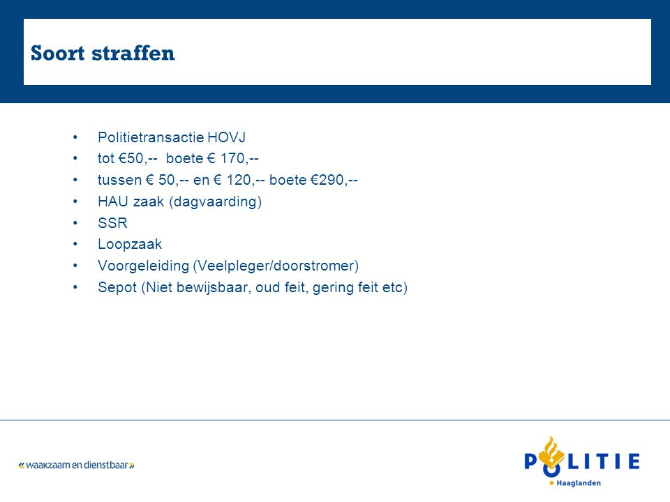 Soort straffen Politietransactie HOVJ tot €50,-- boete € 170,--