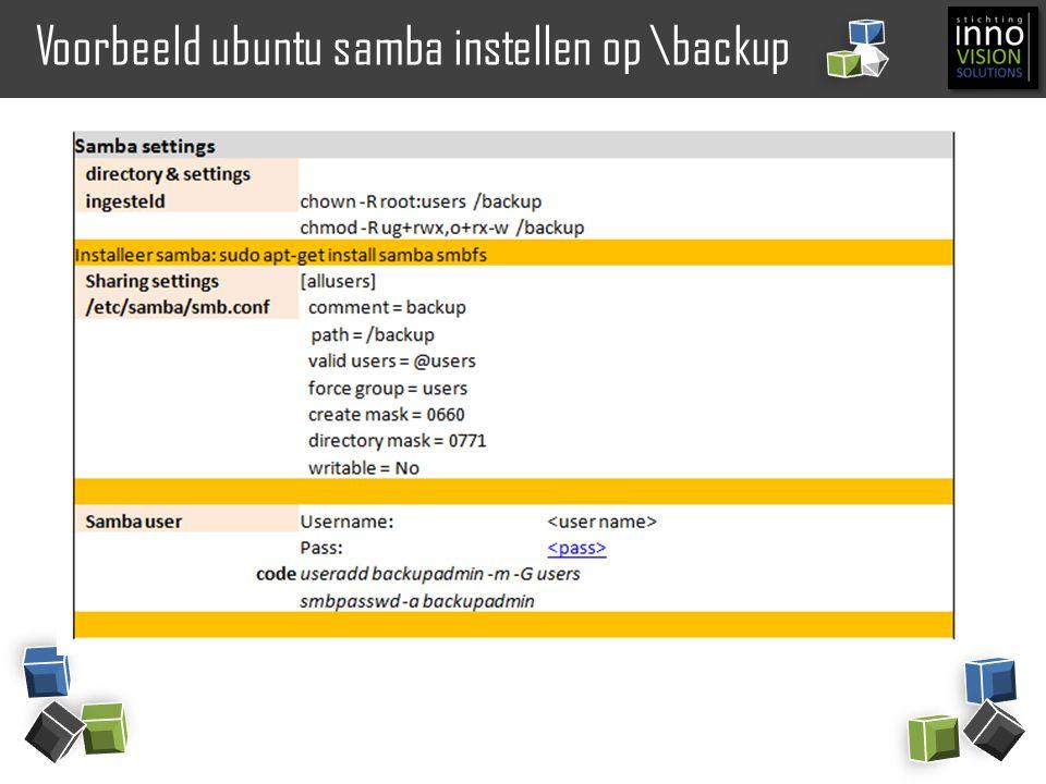 Voorbeeld ubuntu samba instellen op \backup
