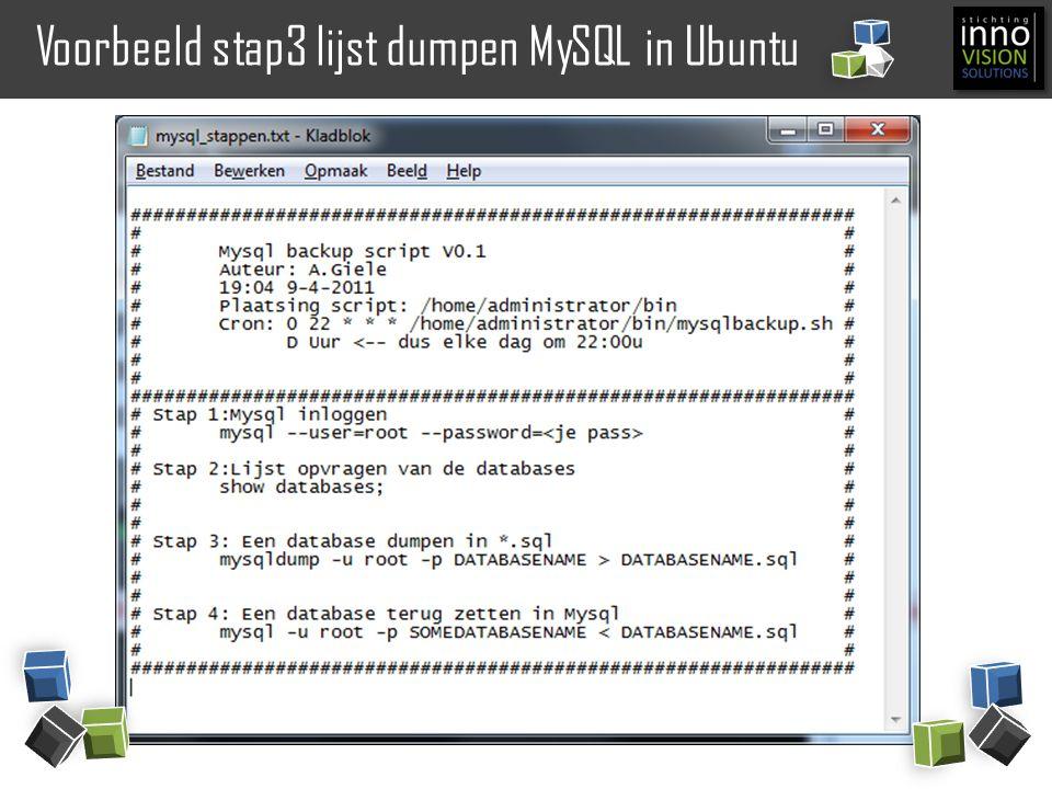 Voorbeeld stap3 lijst dumpen MySQL in Ubuntu