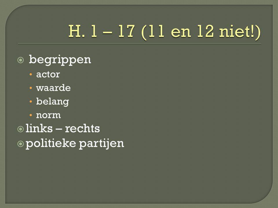 H. 1 – 17 (11 en 12 niet!) begrippen links – rechts politieke partijen