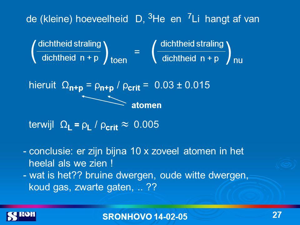 ( ( ( ( de (kleine) hoeveelheid D, 3He en 7Li hangt af van =