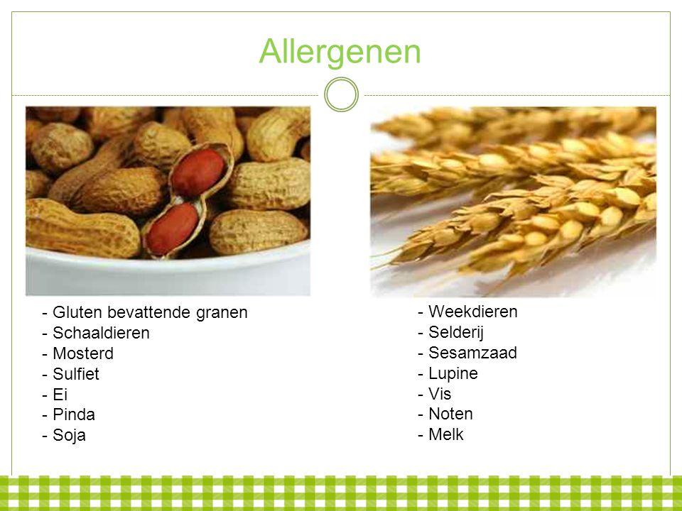 Allergenen - Gluten bevattende granen - Weekdieren - Schaaldieren