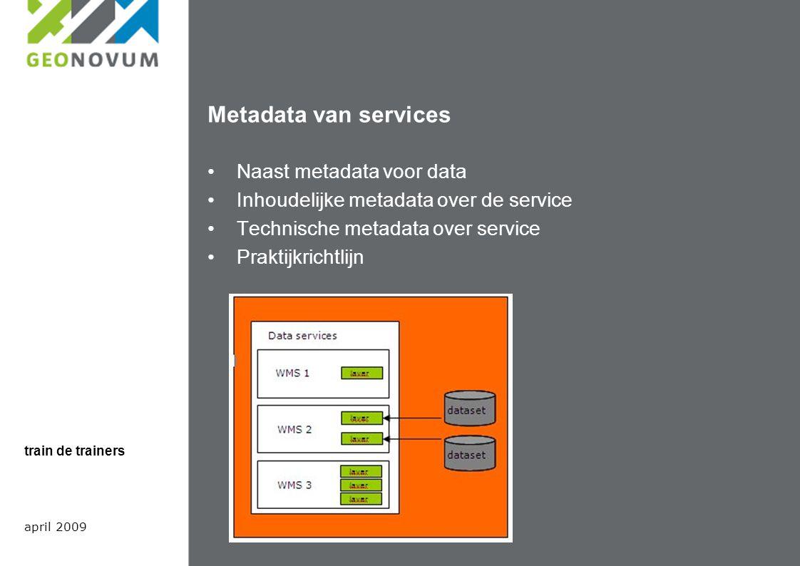 Metadata van services Naast metadata voor data