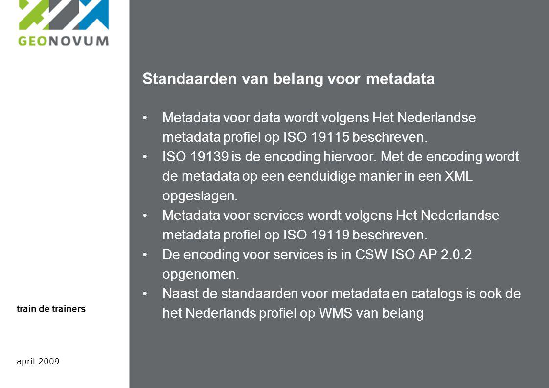 Standaarden van belang voor metadata