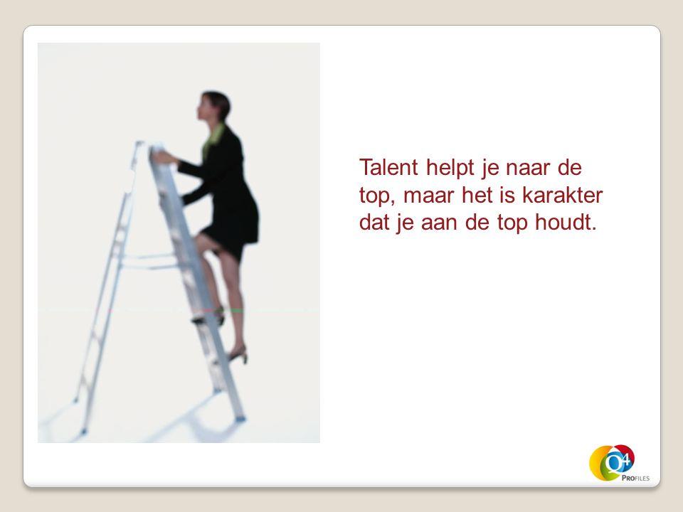 Talent helpt je naar de top, maar het is karakter dat je aan de top houdt.
