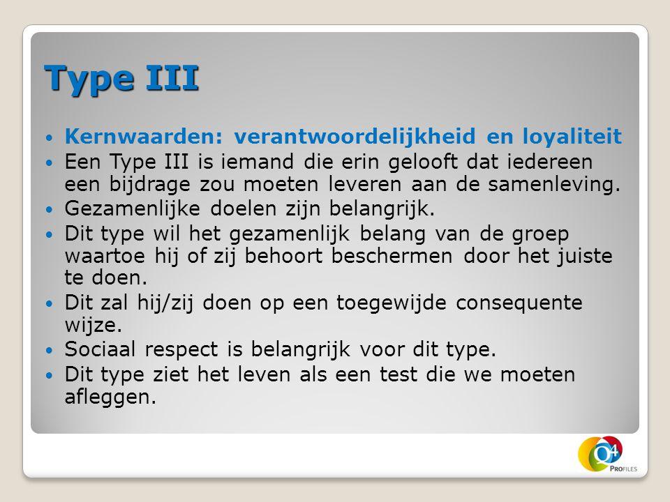 Type III Kernwaarden: verantwoordelijkheid en loyaliteit