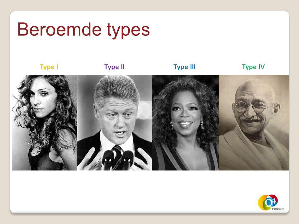 Beroemde types Type I Type II Type III Type IV