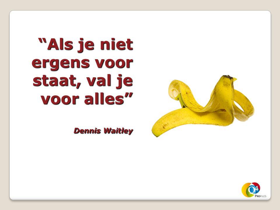 Als je niet ergens voor staat, val je voor alles Dennis Waitley