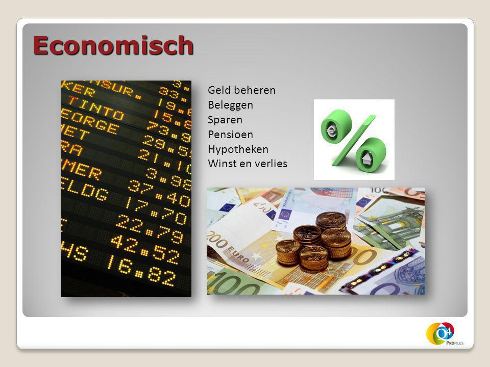 Economisch Geld beheren Beleggen Sparen Pensioen Hypotheken