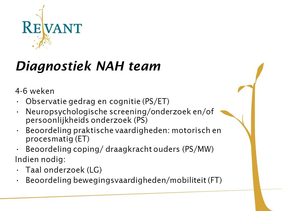Diagnostiek NAH team 4-6 weken Observatie gedrag en cognitie (PS/ET)