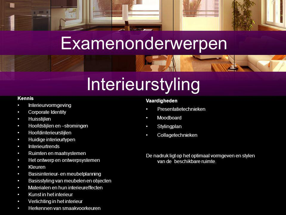 Examenonderwerpen Interieurstyling Kennis Interieurvormgeving