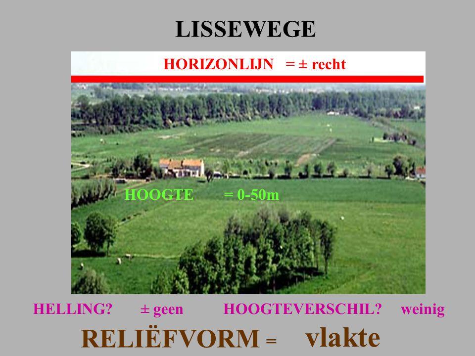 vlakte RELIËFVORM = LISSEWEGE HORIZONLIJN = ± recht HOOGTE = 0-50m