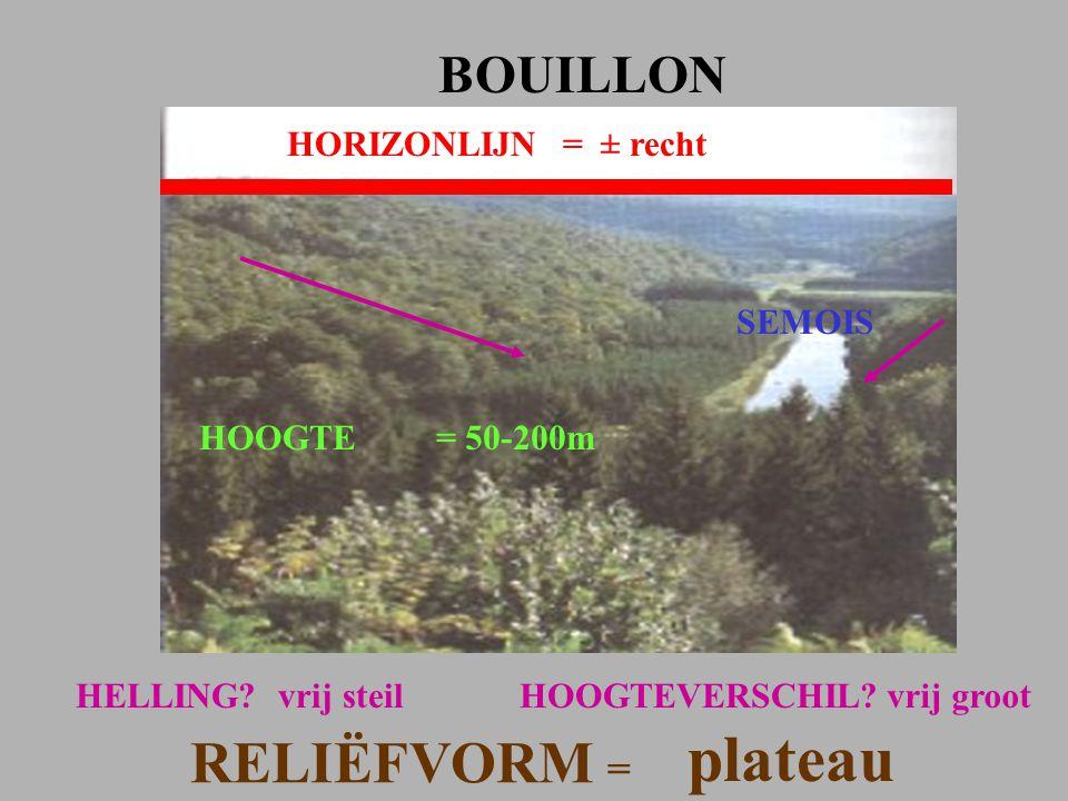 plateau RELIËFVORM = BOUILLON HORIZONLIJN = ± recht SEMOIS HOOGTE