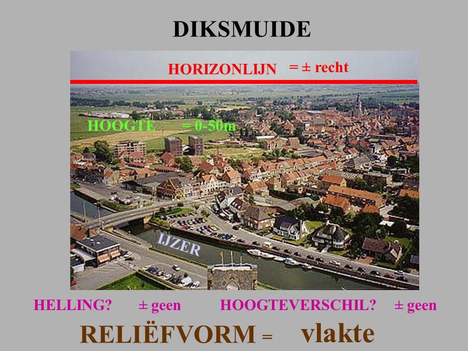 vlakte RELIËFVORM = DIKSMUIDE HORIZONLIJN = ± recht HOOGTE = 0-50m