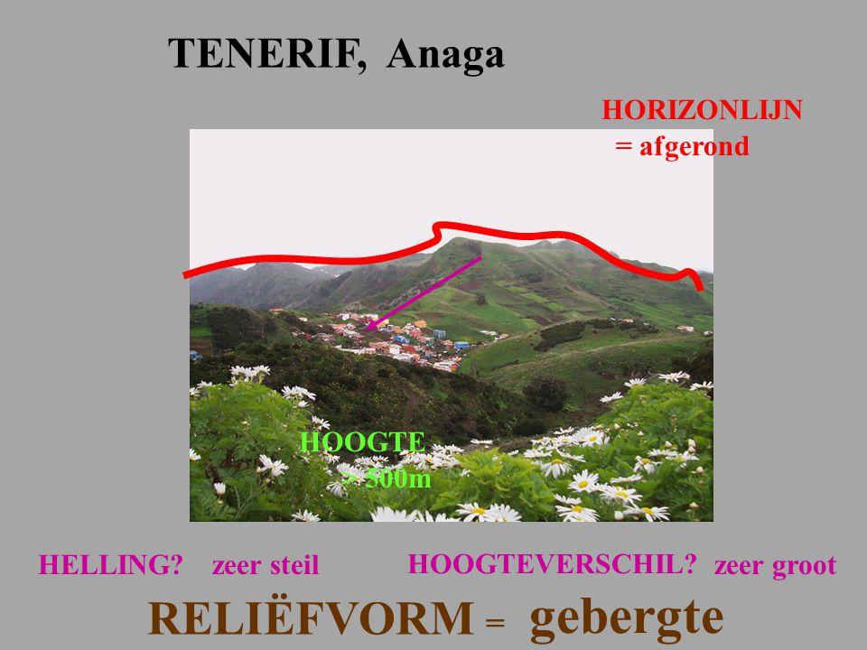 gebergte RELIËFVORM = TENERIF, Anaga HORIZONLIJN = afgerond HOOGTE