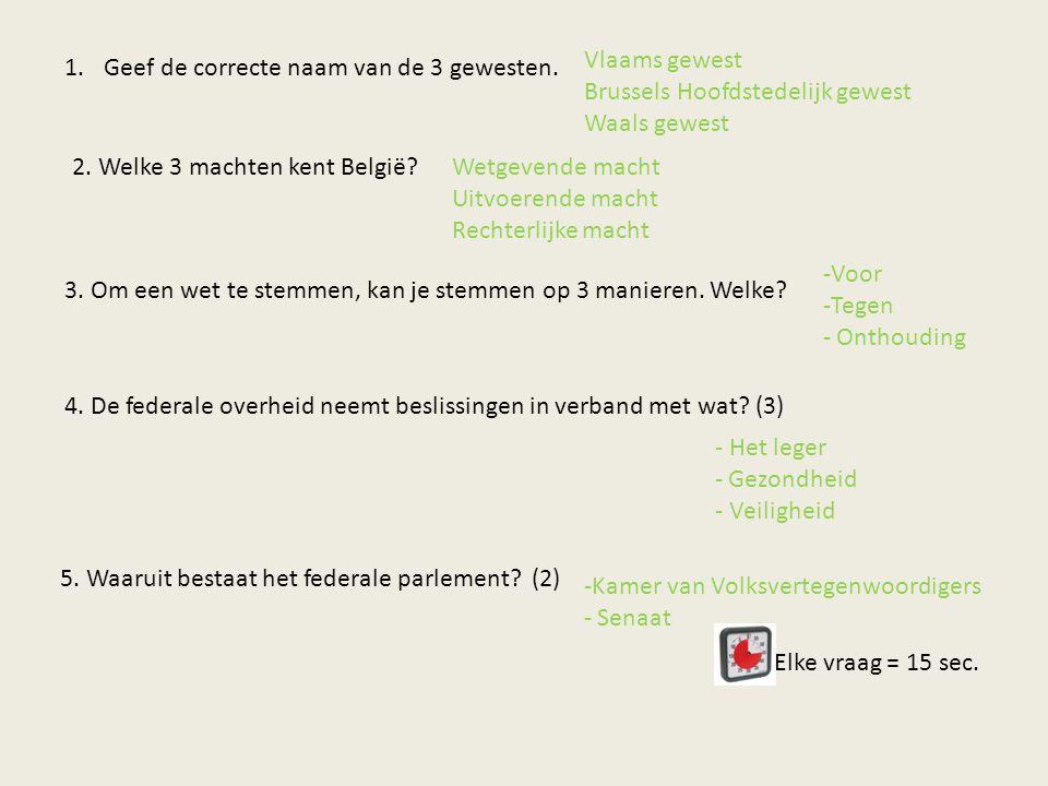 Vlaams gewest Brussels Hoofdstedelijk gewest. Waals gewest. Geef de correcte naam van de 3 gewesten.