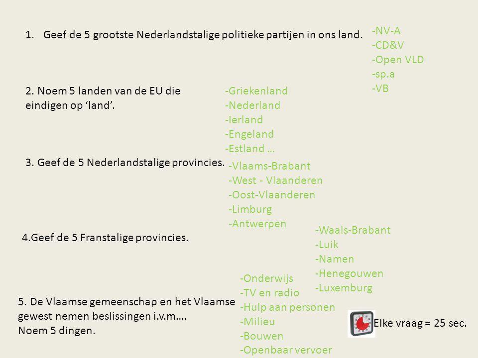 NV-A CD&V. Open VLD. sp.a. VB. Geef de 5 grootste Nederlandstalige politieke partijen in ons land.