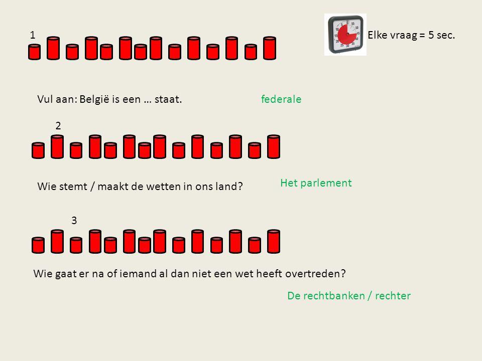 1 Vul aan: België is een … staat. Elke vraag = 5 sec. federale. 2. Wie stemt / maakt de wetten in ons land