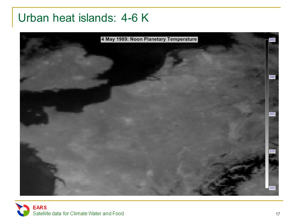 Urban heat islands: 4-6 K EARS