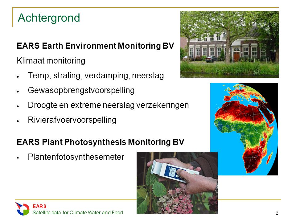 Achtergrond EARS Earth Environment Monitoring BV Klimaat monitoring