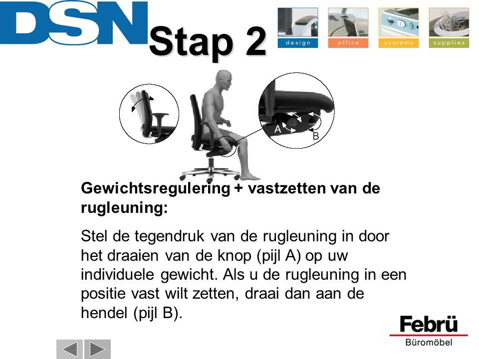 Stap 2 Gewichtsregulering + vastzetten van de rugleuning: