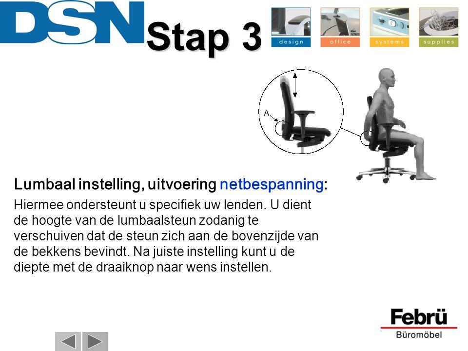 Stap 3 Lumbaal instelling, uitvoering netbespanning: