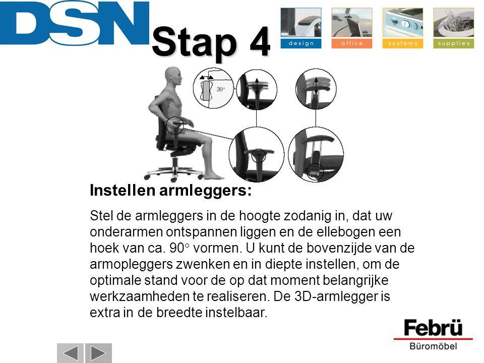 Stap 4 Instellen armleggers: