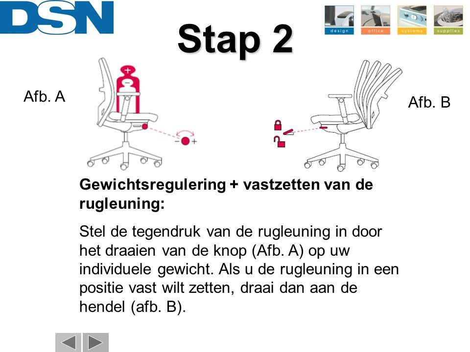Stap 2 Afb. A. Afb. B. Gewichtsregulering + vastzetten van de rugleuning:
