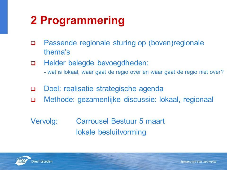 2 Programmering Passende regionale sturing op (boven)regionale thema's