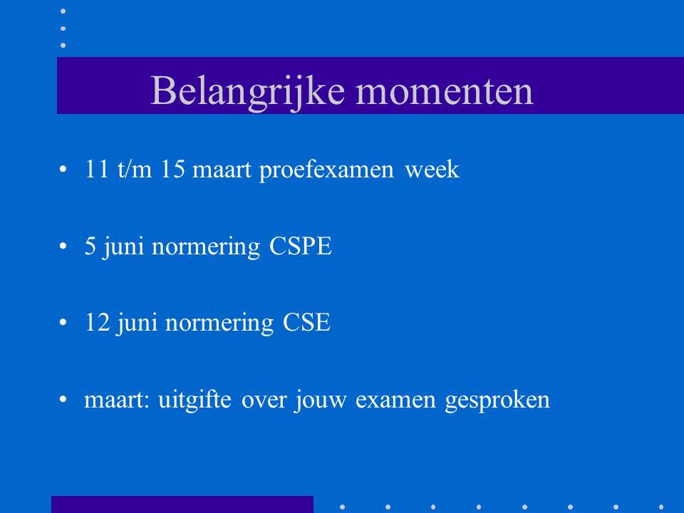 Belangrijke momenten 11 t/m 15 maart proefexamen week