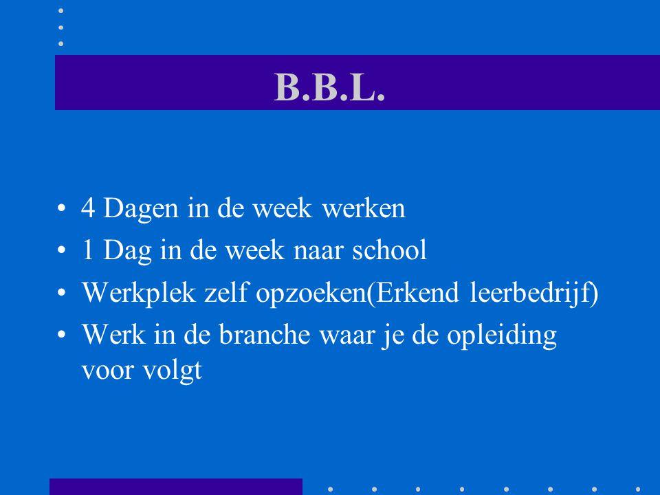 B.B.L. 4 Dagen in de week werken 1 Dag in de week naar school