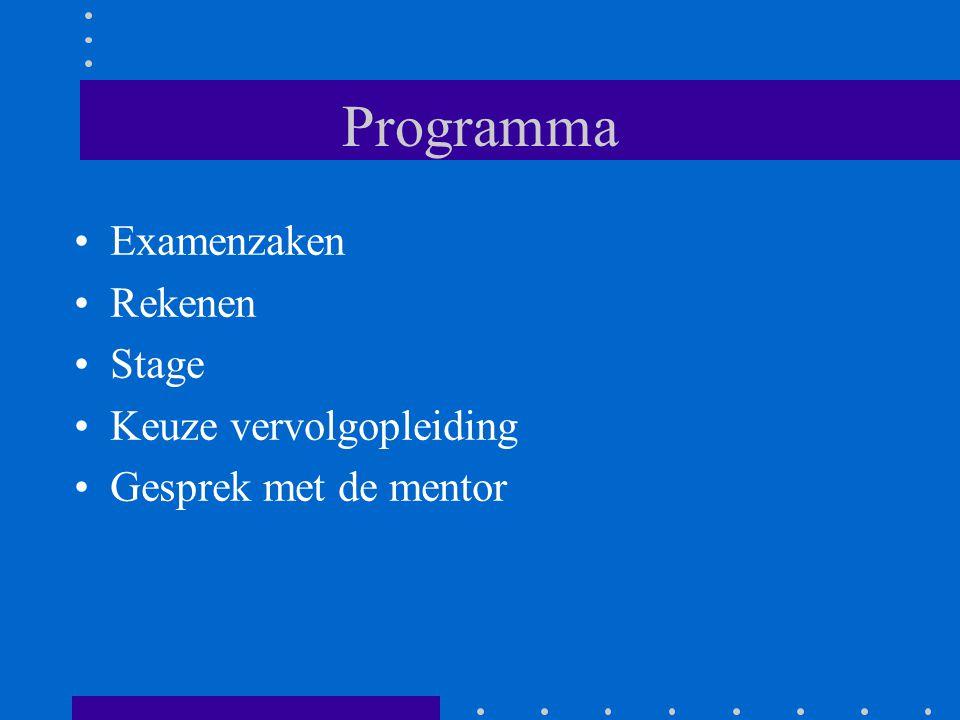 Programma Examenzaken Rekenen Stage Keuze vervolgopleiding