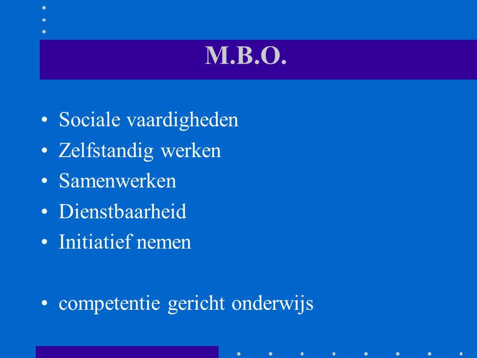 M.B.O. Sociale vaardigheden Zelfstandig werken Samenwerken