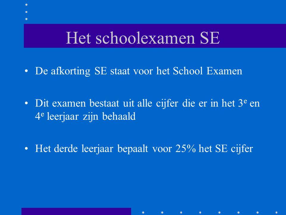 Het schoolexamen SE De afkorting SE staat voor het School Examen