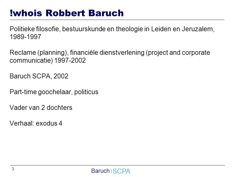 !whois Robbert Baruch Politieke filosofie, bestuurskunde en theologie in Leiden en Jeruzalem, 1989-1997.