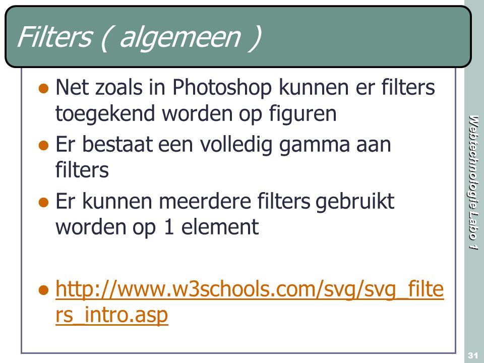 Filters ( algemeen ) Net zoals in Photoshop kunnen er filters toegekend worden op figuren. Er bestaat een volledig gamma aan filters.