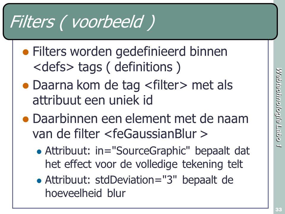 Filters ( voorbeeld ) Filters worden gedefinieerd binnen <defs> tags ( definitions ) Daarna kom de tag <filter> met als attribuut een uniek id.