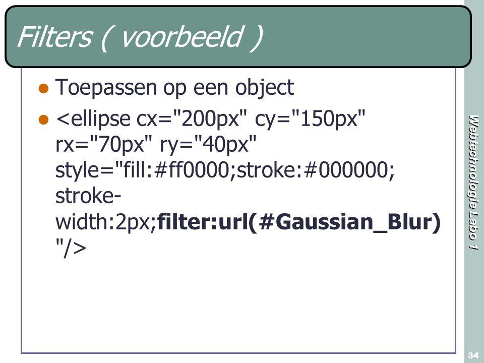 Filters ( voorbeeld ) Toepassen op een object