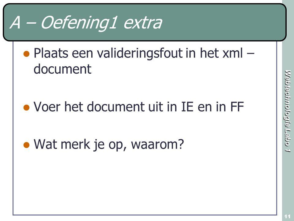 A – Oefening1 extra Plaats een valideringsfout in het xml – document