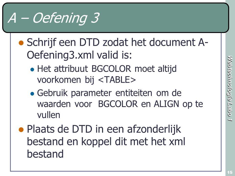 A – Oefening 3 Schrijf een DTD zodat het document A-Oefening3.xml valid is: Het attribuut BGCOLOR moet altijd voorkomen bij <TABLE>
