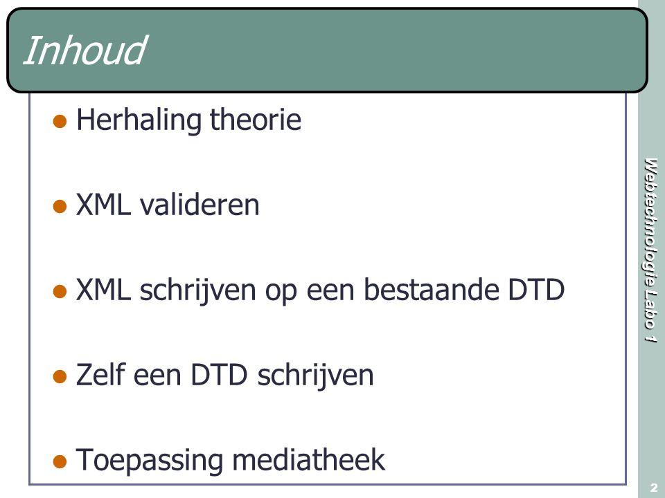 Inhoud Herhaling theorie XML valideren