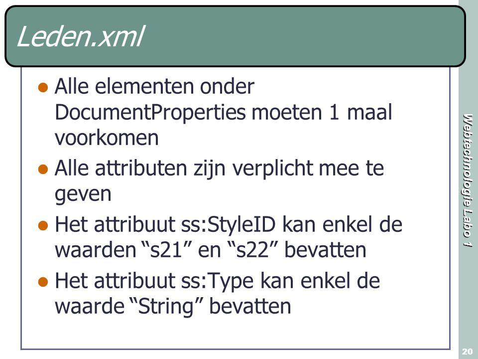Leden.xml Alle elementen onder DocumentProperties moeten 1 maal voorkomen. Alle attributen zijn verplicht mee te geven.