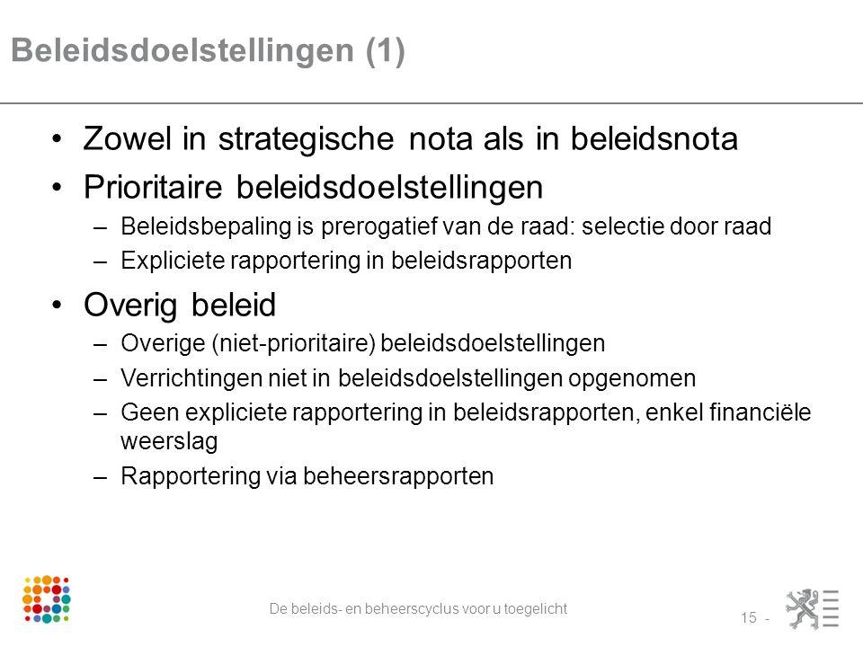 Beleidsdoelstellingen (1)