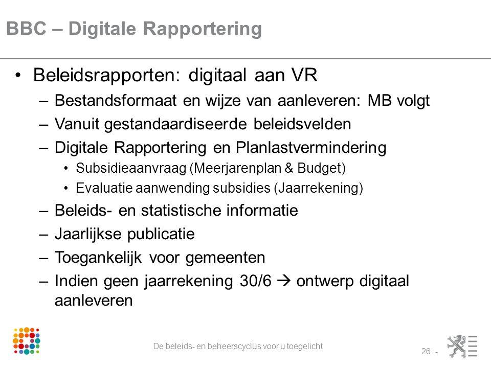 BBC – Digitale Rapportering