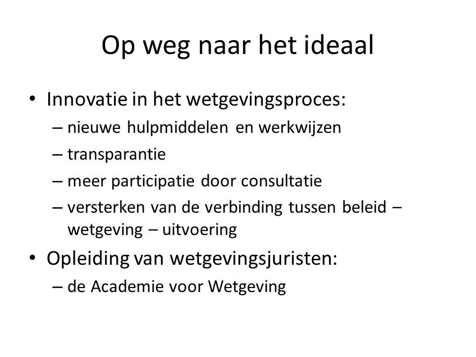 Op weg naar het ideaal Innovatie in het wetgevingsproces: