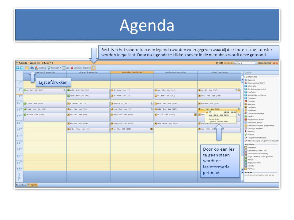 Agenda Lijst afdrukken