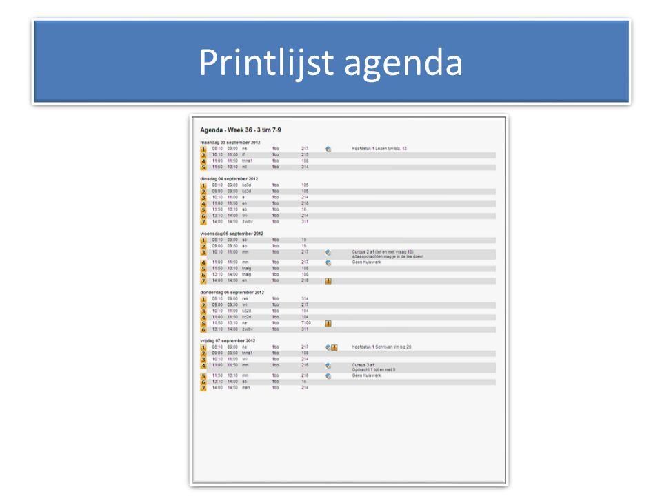 Printlijst agenda