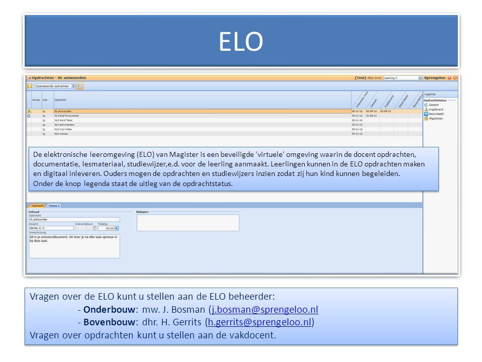 ELO Vragen over de ELO kunt u stellen aan de ELO beheerder: